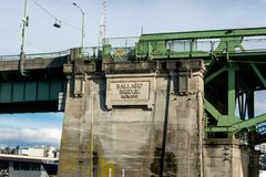 Ballard Bascule Bridge connecting Seattle to Ballard across Salmon Bay Stock Photo
