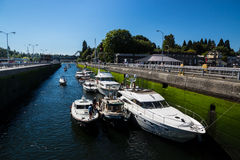 Ballard Lock Pleasure Craft Waiting Stock Foto's