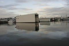 Ballard Lock on Union Lake Seattle. View of the marina after the locks Stock Photos