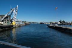 Ballard Lock View van Meerunie van Poort Stock Afbeelding