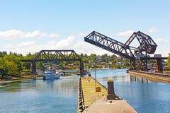 Ballard Locks an einem Sommertag in Seattle lizenzfreie stockfotos