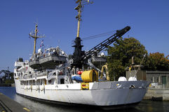 Ballard Locks. NOAA Research Ship,Rainier , transits Ballard Locks, Seattle, WA stock photography