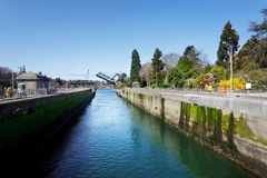 Ballard locks open upstream. Ballard Locks, looking upstream with bridge open, Seattle Royalty Free Stock Photos