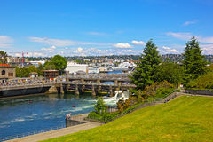 Ballard Locks in Seattle. SEATTLE, USA – JUNE 17, 2013: Ballard Locks in Seattle on June 17, 2013. Locks connect the waters of Puget Sound with freshwater stock photo