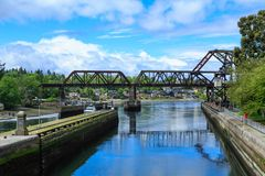 Bridge by Ballard Locks. Ballard Locks and Steel Bridge Over Salmon Bay near Seattle royalty free stock photography