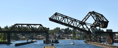 Ballard Ship Locks Seattle, WA royaltyfria bilder