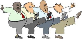Ballare di quattro uomini anziani potere-può Fotografie Stock Libere da Diritti