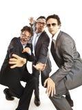 Ballare pazzesco degli uomini d'affari Immagini Stock