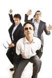 Ballare pazzesco degli uomini d'affari Fotografia Stock