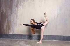 Ballare snello dai capelli lunghi di talento della donna dell'interno immagini stock