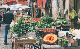 Ballaro. Fresh fruits and vegetables for sale in Ballaro, famous market in Palermo, Sicily island, Italy. Toned image Royalty Free Stock Image
