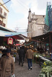 Ballaro market in palermo. PALERMO - DECEMBER 22: Street of local market in Palermo, called Ballaro. This market is also tourist attraction in Palermo, Sicily Royalty Free Stock Photo
