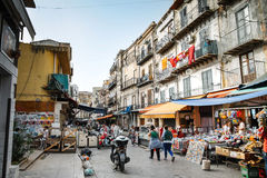 Ballaro market. PALERMO, ITALY -May 11, 2016: Ballarò is a known historical outdoor market of Palermo, Italy Royalty Free Stock Images
