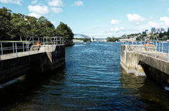 Ballast Point Park with Harbour Bridge on Mort Bay Sydney Royalty Free Stock Photography