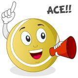 Balle de tennis Ace tenant un mégaphone Photo stock