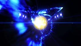 Balle de tennis dans le domaine sous l'éclairage de couleur Concept d'équipe de sports stade ground Champ Projecteurs la nuit illustration de vecteur