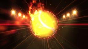 Balle de tennis dans le domaine sous l'éclairage de couleur Concept d'équipe de sports stade ground Champ Projecteurs la nuit illustration stock
