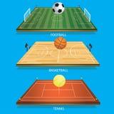 Balle de tennis du champ 3D de tennis de fond d'illustration de vecteur Photos stock