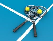 Balle de tennis et raquette - image courante - image courante Images libres de droits
