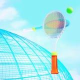 Balle de tennis et raquettes contre une silhouette et un ciel de globe Images stock