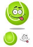 Balle de tennis verte de bande dessinée avec le visage de sourire Image libre de droits