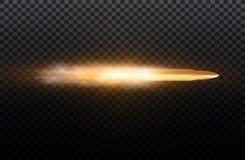 Balle de vol avec la traînée de la poussière D'isolement sur le fond transparent noir Illustration de vecteur illustration libre de droits