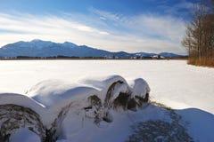 Balle della paglia in Baviera superiore Fotografie Stock
