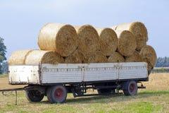 Balle di fieno sullo sbarco dell'azienda agricola Immagine Stock