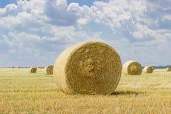 Balle rotonde della paglia sul campo raccolto su fondo del cielo Fotografie Stock