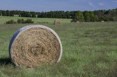 Ballen Heu auf den Bauernhofgebieten und Ackerland im Gras Stockfotos