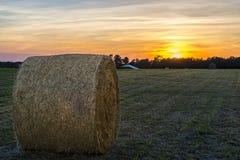 Ballen Heu auf den Bauernhofgebieten und Ackerland im Gras Stockfotografie