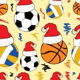 Ballen in Kerstmiskappen Stock Afbeeldingen