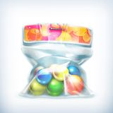Ballen in kleine plastic zak stock illustratie