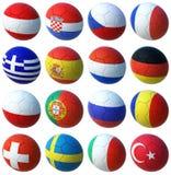 Ballen met Euro 2008 vlaggen Stock Foto