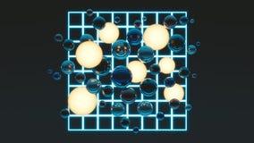 Ballen met ballen van licht en neonkooi op donkere achtergrond Abstracte samenstelling met gebieden het 3d teruggeven royalty-vrije illustratie