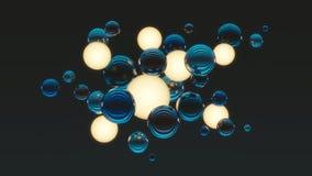 Ballen met ballen van licht op donkere achtergrond Bos van ballen Abstracte samenstelling met gebieden het 3d teruggeven vector illustratie