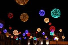 Ballen van de lichten van Kerstmis. Stock Foto