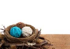 Ballen van garen in een nest, witte achtergrond Stock Afbeeldingen