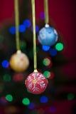 Ballen van Kerstmis met defocused lichten Royalty-vrije Stock Foto's