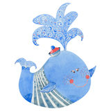 Ballena azul de la acuarela Imagen de archivo libre de regalías