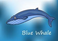 Ballena azul de la historieta que nada bajo el agua Fotos de archivo