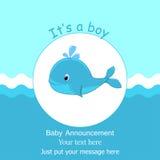 Ballena del bebé azul es una plantilla de la invitación de la fiesta de bienvenida al bebé del diseño de tarjeta del muchacho Foto de archivo