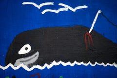 Ballena Detalle de una pintada marítima 2 del tema del niño fotografía de archivo libre de regalías