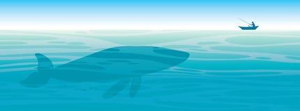 Ballena grande, pescador, mar, cielo ilustración del vector