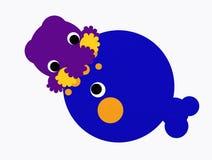 Ballena y calamar de esperma Fotos de archivo