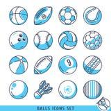 Ballenpictogrammen geplaatst vectorillustratie Royalty-vrije Stock Foto