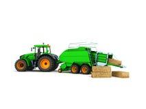 Ballenpresse-Ballenpresse für Traktor 3d übertragen auf weißem Hintergrund Stockfotos