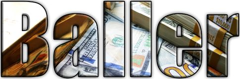 Baller Logo With Stacks Of Money y oro dentro de letras Imagen de archivo libre de regalías