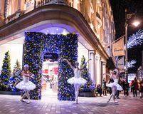 London, Bond Street Christmas decorations stock photo