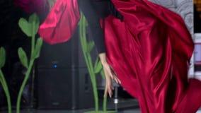 Ballerina κοριτσιών χορού, θηλυκός όμορφος επαγγελματικός χορευτής γυναικών στο κόκκινο φόρεμα εκτελεί το χορό της Αργεντινής απόθεμα βίντεο